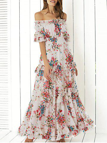 Shop Boho Off Shoulder Floral Long Flounce Dress for Wedding WHITE XL
