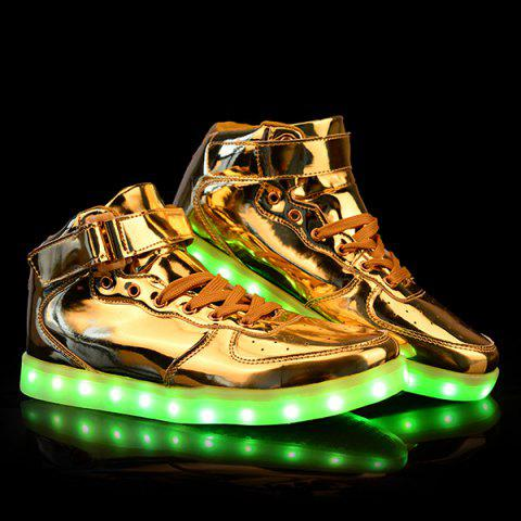 Stylish Tie Up and Lights Up Led Luminous Design Casual Shoes For Men - Golden - 44