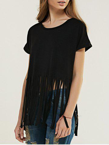 Cheap Chic Pure Color Fringed T-Shirt For Women