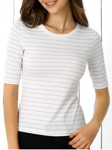 Discount Concise Half Sleeve Striped T-Shirt For Women