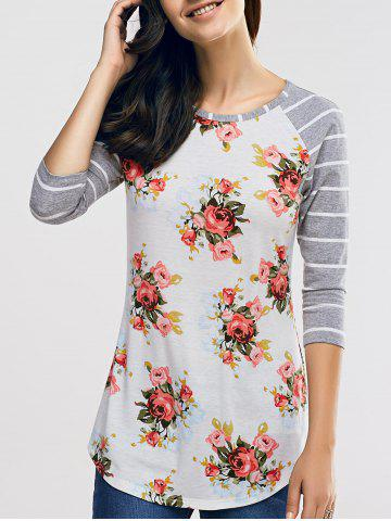 Outfit Raglan Sleeve Casual Floral and Striped T-Shirt GREY AND WHITE XL