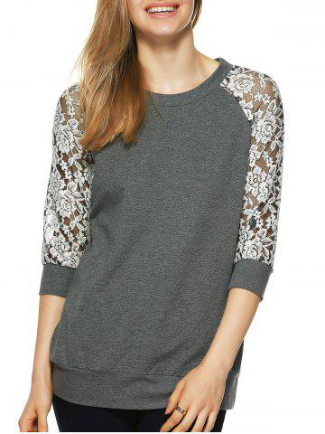 Unique Round Neck Lace Splicing T-Shirt GRAY M