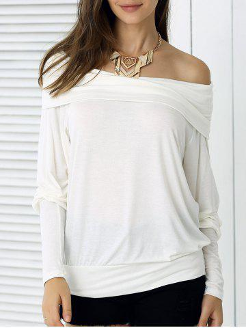 Shops Loose Fit Pure Color Long Sleeve Tee OFF WHITE XL