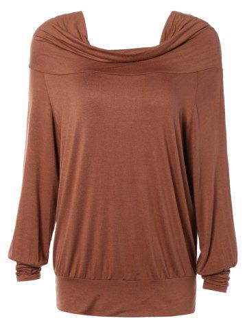 Loose Fit Pure Color Long Sleeve Tee - Khaki - M