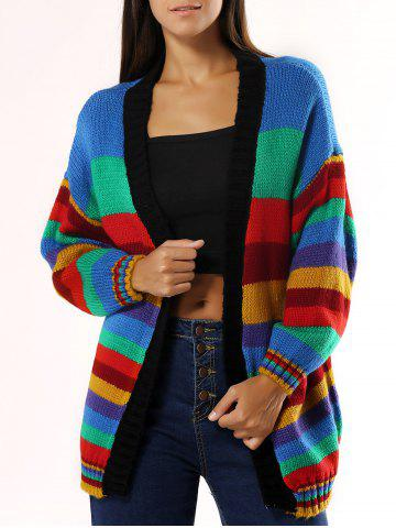 Outfit Colorized Striped Loose Cardigan For Women