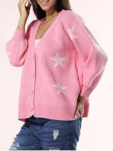 New Sweet Star Ribbed Hem Cardigan For Women