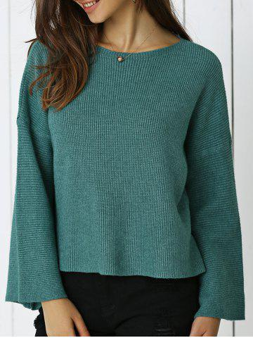 Buy Simple Flare Sleeve Ribbed Sweater For Women