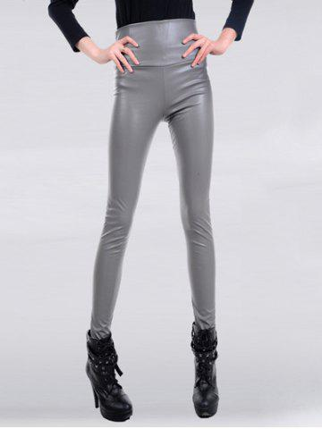 High Waisted Skinny Faux Leather Pants - Light Gray - S