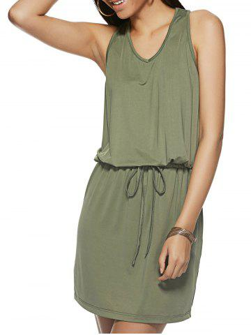 Store Lace-Up Pure Color Sleeveless Dress