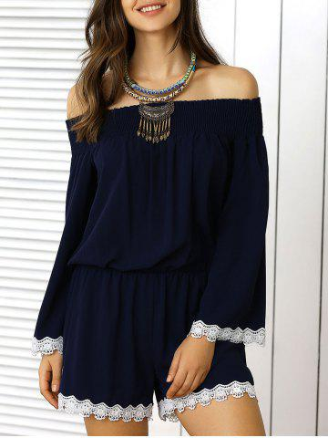 Sale Off The Shoulder Lace Panel Pants Romper - L DEEP BLUE Mobile