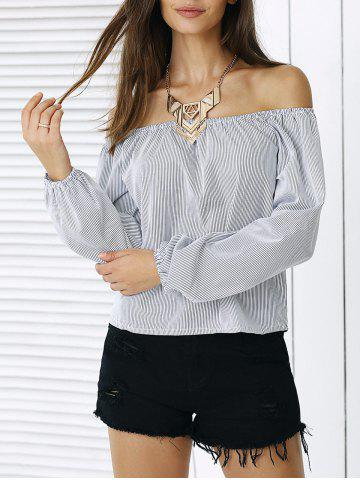 Shops Simple Puff Sleeve Striped Blouse For Women
