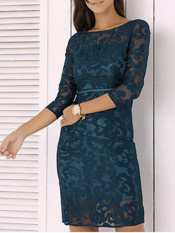 Elegant Slash Neck Mesh Embroidered Semi Sheer Dress - Deep Blue - S