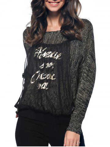Shop Trendy Long Sleeve Spliced Letter Scoop Neck Marled Knitted Blouse