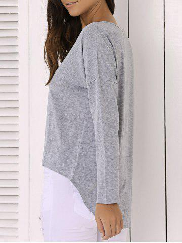 Outfits Casual Pure Color Long Sleeve Scoop Neck Asymmetric Blouse