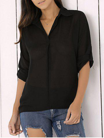 Long Sleeve Chiffon Button Up Casual Tunic Shirt - Black - L