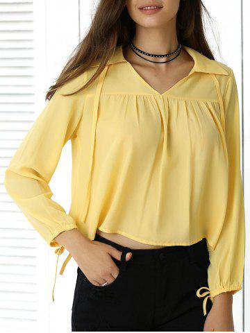 Trendy Freshing Pleated Pure Color Long Sleeve Cropped Shirt
