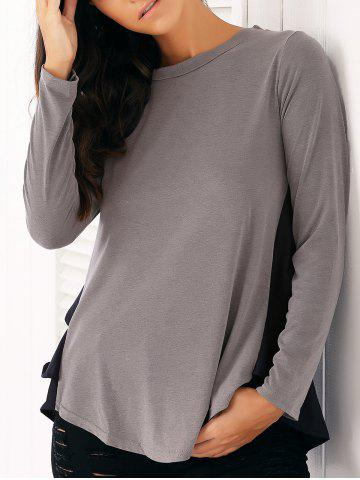 Store Casual Long Sleeve Chiffon Spliced Flounced Blouse GRAY XL