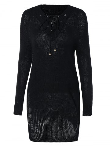 Discount Women's Lace-Up Long Sleeve Black Furcal Sweater