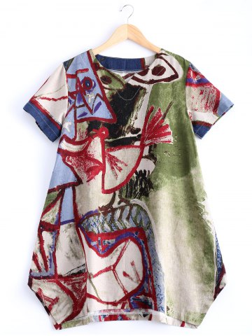Sale Stylish V Neck Abstract Print Loose Fitting Dress COLORMIX XL