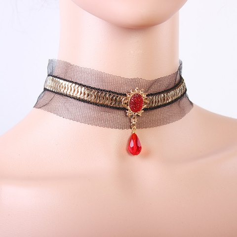 Shop Gothic Style Black Lace Faux Ruby Teardrop Choker Necklace For Women