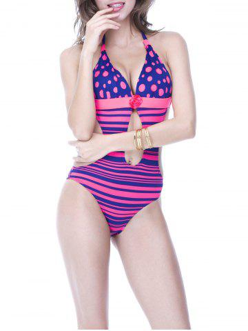 New Charming Halter Polka Dot Striped Backless Women's Swimwear