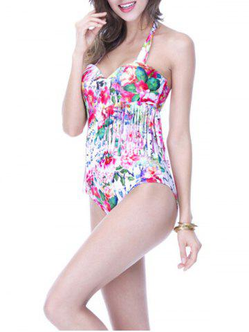 Discount Charming Halter Floral Print Fringed Women's Swimwear