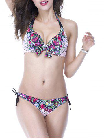 Affordable Chic Halter Floral Print Push Up Women's Bikini Set