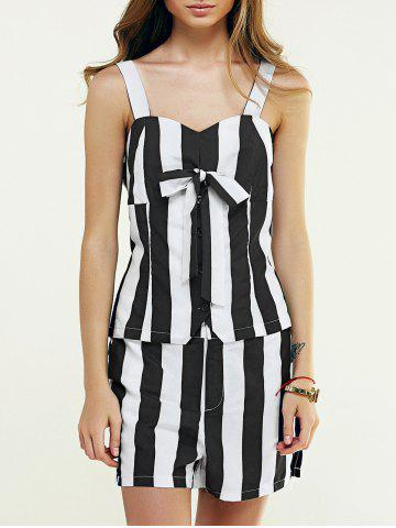 Cheap Sweetheart Neck Buttoned Tank Top + Striped Shorts