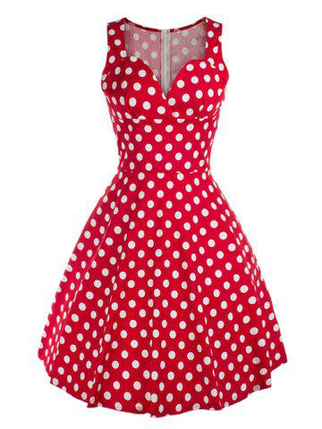 Outfit Vintage Sweetheart Neck Polka Dot Swing Dress