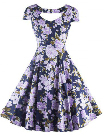 Store Vintage Cut Out Floral Swing Dress