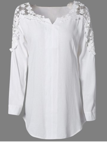 New Plus Size Lace Trim Curved Hem Blouse WHITE 4XL