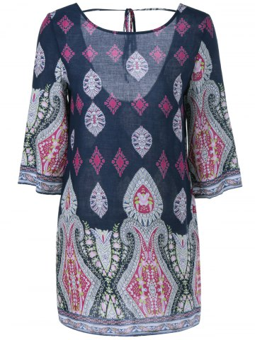 Latest Printed Chiffon Backless Casual Shift Dress
