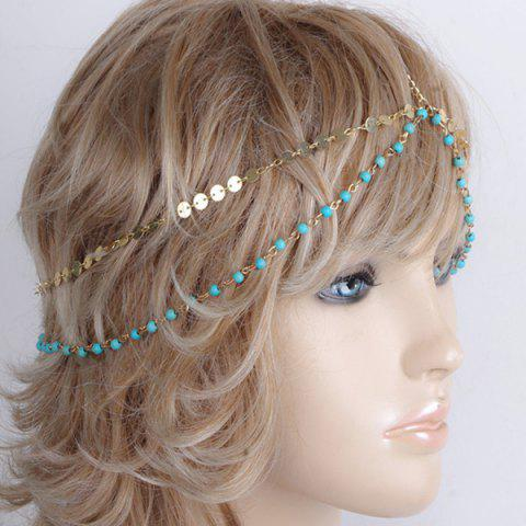 Fashion Fashional Multilayer Beaded Sequin Hair Accessory For Women - BLUE AND GOLDEN  Mobile