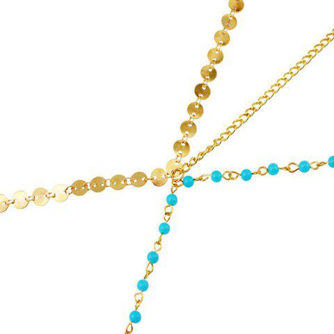 Trendy Fashional Multilayer Beaded Sequin Hair Accessory For Women - BLUE AND GOLDEN  Mobile