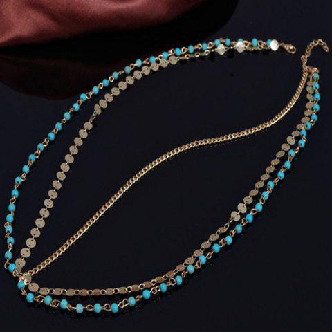 Outfits Fashional Multilayer Beaded Sequin Hair Accessory For Women - BLUE AND GOLDEN  Mobile