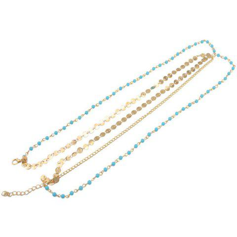 Latest Fashional Multilayer Beaded Sequin Hair Accessory For Women - BLUE AND GOLDEN  Mobile