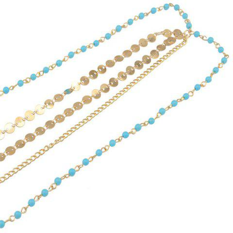 Fancy Fashional Multilayer Beaded Sequin Hair Accessory For Women - BLUE AND GOLDEN  Mobile