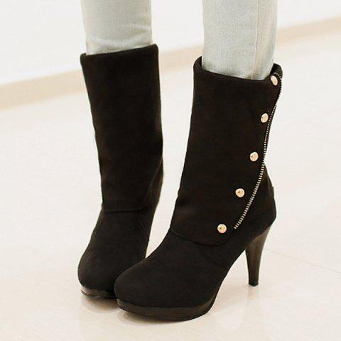 Stylish Rivet and Flock Design Mid-Calf Boots For Women - Black - 38