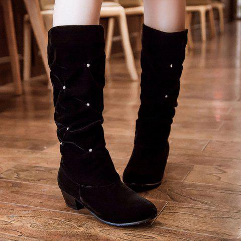 Fashionable Chunky Heel and Buckle Design Women's Mid-Calf Boots - Black 37 latest collections sale online classic sale online IXhvKSjdF