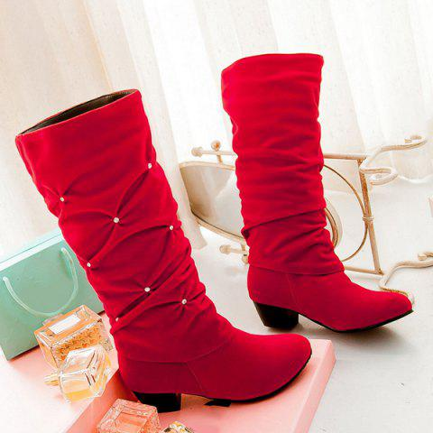 Stylish Ruched and Rhinestone Design Mid-Calf Boots For Women - Red - 41