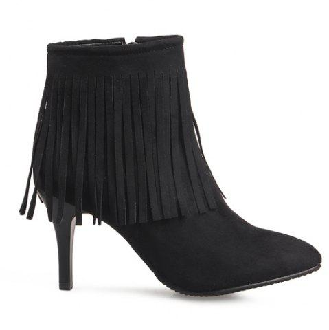 Online Trendy Fringe and Pointed Toe Design Ankle Boots For Women