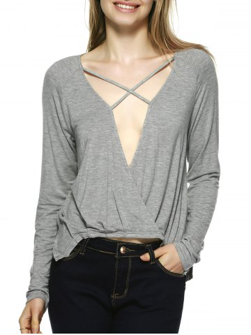 New Novelty Plunging Neck Lace-Up Blouse GRAY XL