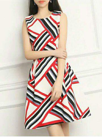 Cheap Striped Hit Color Sleeveless Dress