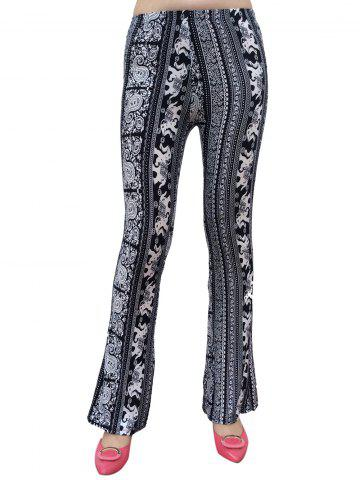 Trendy Elephant Patterned Boot Cut Pants WHITE AND BLACK ONE SIZE