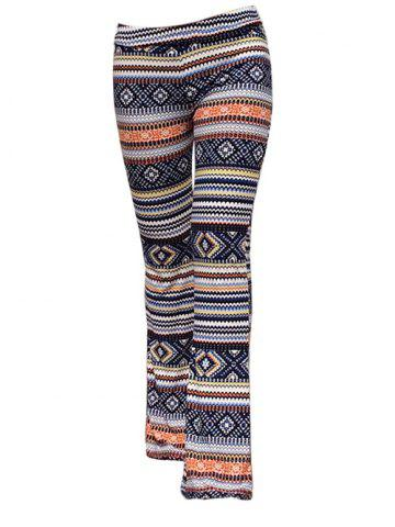 Shops Trendy Elastic Waist Geometric Print Slimming Women's Pants