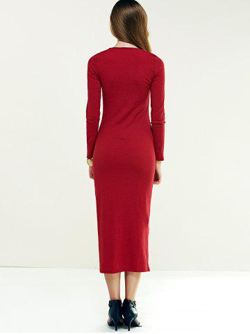 Unique Long Sleeve Longline Jumper Dress - M WINE RED Mobile