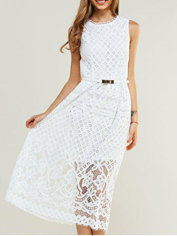 Outfits Sleeveless Crochet Belted Lace Dress