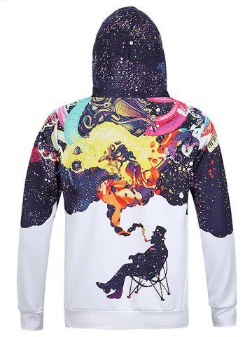 Hot Figure Print Kangaroo Pocket Hoodie - L WHITE Mobile