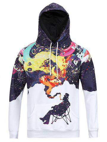 Buy Figure Print Kangaroo Pocket Hoodie - L WHITE Mobile