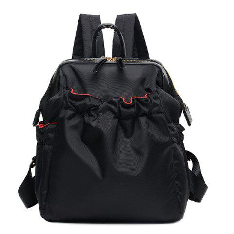 Online Simple Solid Colour and Nylon Design Backpack For Women BLACK